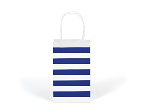 12CT SMALL ROYAL BLUE STRIPE BIODEGRADABLE, FOOD SAFE INK & PAPER KRAFT BAG WITH WHITE STURDY HANDLE (Small, Royal Blue) (Royal Gift Bags Blue)