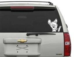 Bambi Waving Vinyl Decal Car Sticker in White