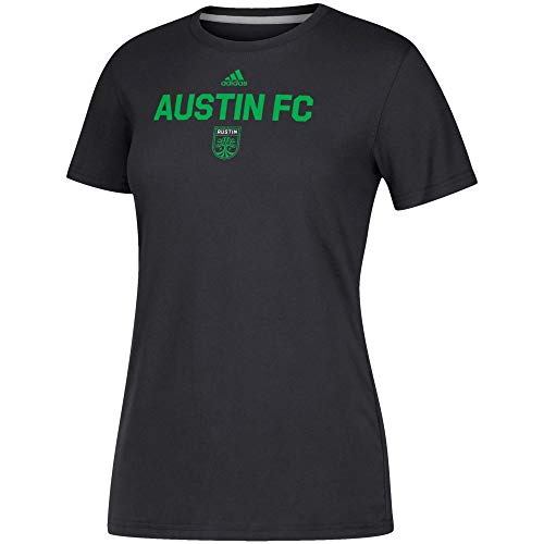 - adidas Austin FC Women's Locker Stacked Team Logo Climalite T-Shirt Black (Medium)