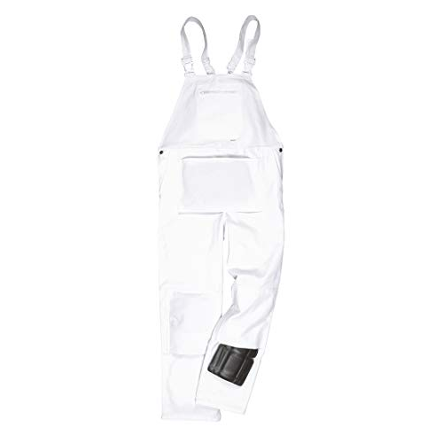 (Portwest Bolton Painters Bib Overall Coverall Dungarees Protection Work Clothing Brace, XXL White)