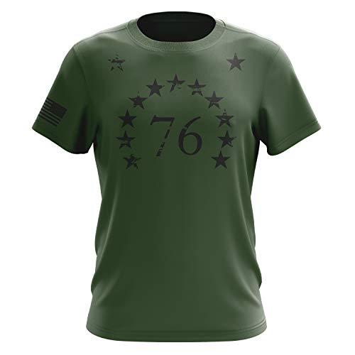 (Tactical Pro Supply American Flag Military Army Mens T Shirt (1776 Stars Green, Medium))