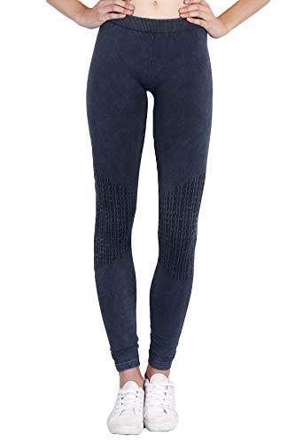 NIKIBIKI Womens Seamless Vintage Knee Shirring Leggings One Size Vintage Denim Blue ()