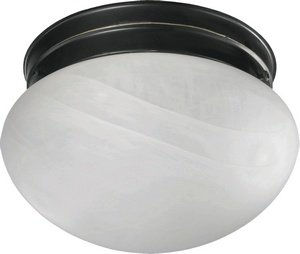 Flush Mount with Faux Alabaster Glass in Cobblestone Finish: Old World