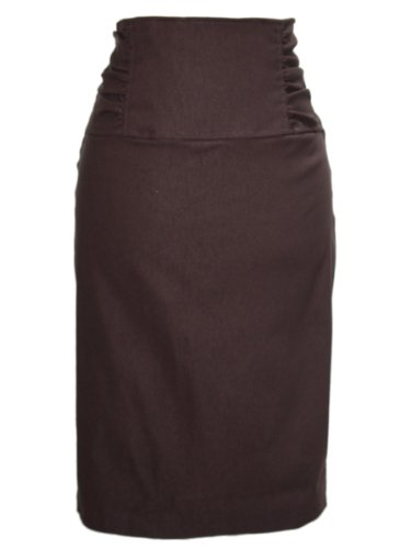 Gathered High Waist Stretch Pencil Skirt Including Plus Sizes