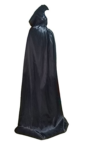 Child Black cape with hood Robe Role halloween Death Costume Black 80m XS