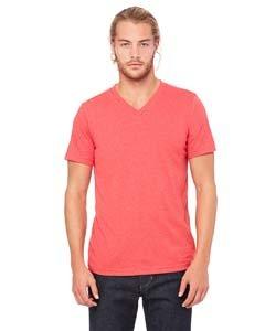Bella mens Unisex Jersey Short-Sleeve V-Neck T-Shirt(3005)-HEATHER RED-L