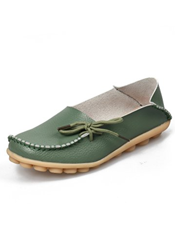 MatchLife Women Vintage Leather Flat Pump Casual Shoes Army Green