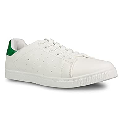 Influence Men's Steve Casual Lace Up Tennis Trainer Sneaker, GREEN/WHITE, Size 8