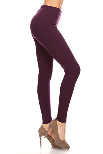 Leggings Depot Women's Premium Quality Ultra Soft Cotton Spandex Solid Leggings (Plum, Medium) (Plum Medium)