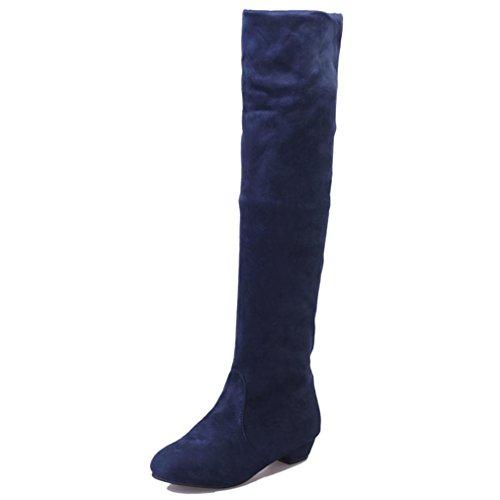 Scamosciato eu 38 Boots Lunghi Donna Corto Gamba Stivali Byste Blu Alta Piatto Scarpe xPvCn6Czwq