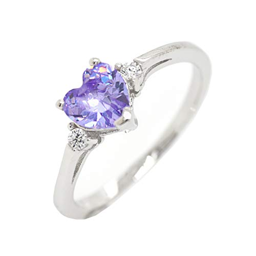 Cute Heart Simulated Birthstone Cubic Zirconia Sterling Silver Birthday Gift Ring Size 4 - Lavender