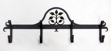 24 Inch Leaf Fan Coat Bar (Wrought Village Leaf Iron)