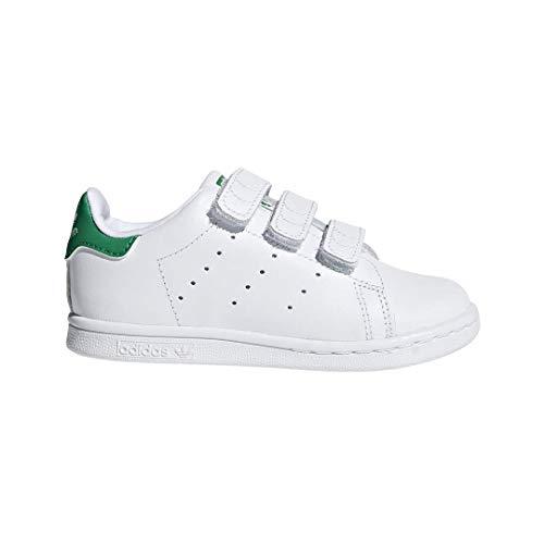 adidas Originals Baby Stan Smith Cloudfoam Sneaker, Footwear White/Footwear White/Green, 9.5 M US Toddler (Adidas Vintage Sneakers)