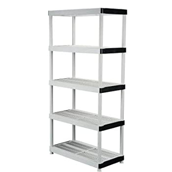 HDX 5-Shelf 36 in. W x 72 in. H x 18 in. D Plastic Ventilated Storage Shelving Unit