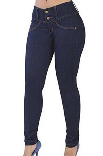 Le Alto Yulinge Pantaloni Caviglia In Denim Lunghi Marina Donne Jeans B88qw
