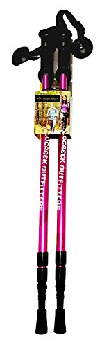 Coldcreek Outfitters Anti-Shock Adjustable Trekking Poles | Great For Use In The Mountains, On Trails, In The Snow, Urban Hiking And Anything Else. (Pink and White)