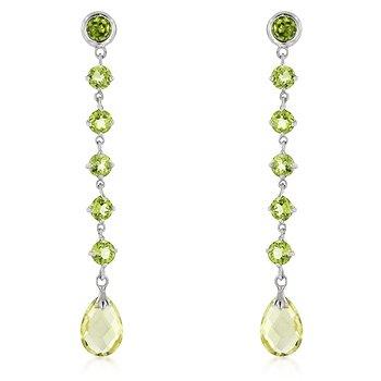 Zekena 14k White Gold Peridot and Gold Quartz Briolette Earrings with 14 Gemstones (Earrings Gold Briolette White Gemstone)