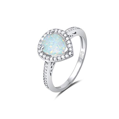 FANCIME 925 Sterling Silver White Created Opal Teardrop Halo Rings Gold Plated Dainty Water Drop Engagement Rings for Women Size 6,7,8 (Ring Opal Teardrop)