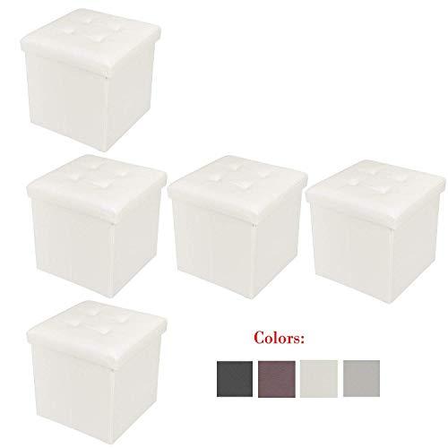 Bonnlo 5 PCS 15 Faux Leather Folding Storage Ottoman Cube Bench Foot Rest Seat Coffee Table White