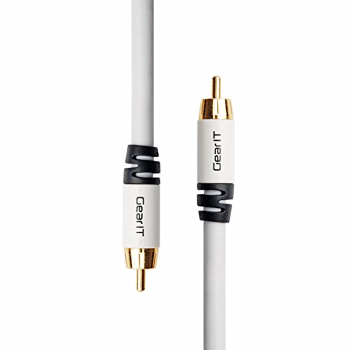 White Dual Subwoofers - RCA Subwoofer Cable, GearIT Pro Series (2-Pack) 10 Feet Gold Plated Dual Shielded RCA to RCA Subwoofer Cable for High Performace Home Stereo and Home Theather System - White