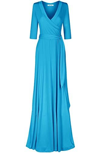 Bon Rosy Women's #MadeInUSA 3/4 Sleeve Deep V-Neck Maxi Faux Wrap Solid Dress Summer Wedding Guest Party Bridal Baby Shower Maternity Nursing Aqua L