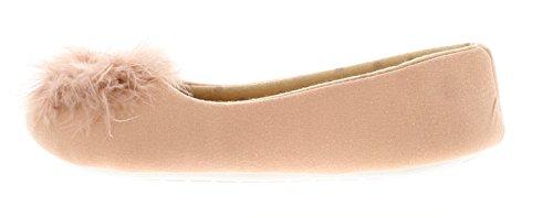 Kickers Kisses Damen aufziehschuhe Ballerina Hausschuh mit Weichen Feder Pom Pom Detail zu dem Vamp Textil Bedeckt Sohle - Pink - UK Größen 3-9