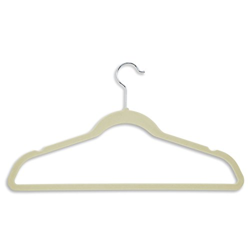 Honey-Can-Do Ultra Thin Non-Slip Velvet Hangers, 50-Pack, Ivory
