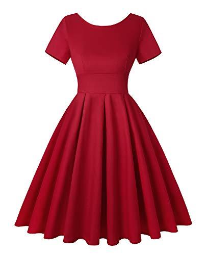 ROOSEY Women's 1950's Vintage Tea Dress Short Sleeve Round Neckline Retro Floral Cocktail Dress - Red,XXL -