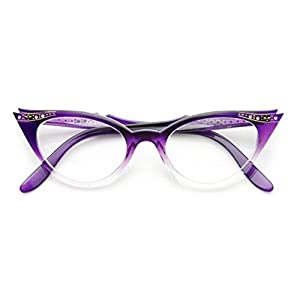 AStyles - Vintage Cateyes 80s Inspired Fashion Clear Lens Cat Eye Glasses with Rhinestones (Purple-Fade, Clear)