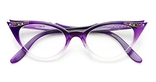 AStyles  Vintage Cateyes 80s Inspired Fashion Clear Lens Cat Eye Glasses with Rhinestones PurpleFade Clear