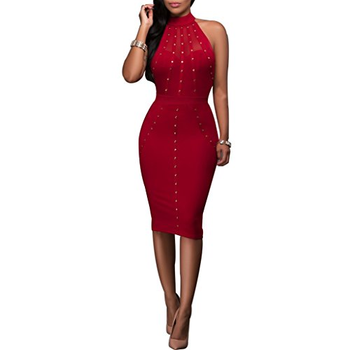 Synen Women's Mesh Rivets Sleeveless Bodycon Vintage Cocktail Dresses (M, Red)