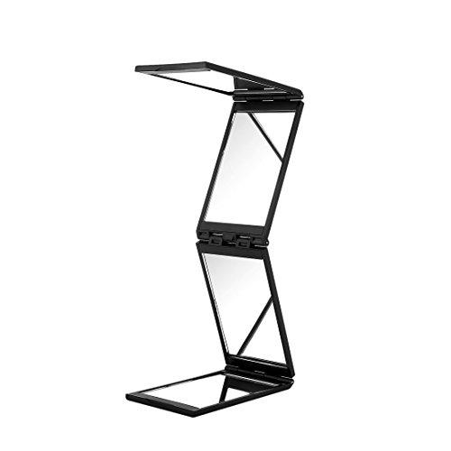 Moiom 4 Panel Expandable Mirror Travel Portable Makeup Mirror (Black) (Triple Folding Clasp)