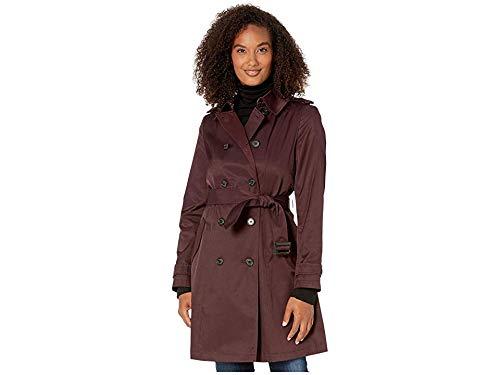 LAUREN RALPH LAUREN Women's Year Round Rain Trench Coat Cranberry Small (Faux Leather Trim Trench Coat Ralph Lauren)
