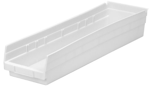 Akro-Mils 30164  24-Inch by 6-Inch by 4-Inch Plastic Nesting Shelf Bin Box, White, Case of 6 (Home Depot Wire Shelving For Closets)