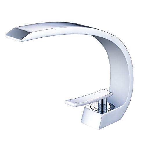 - Fapully Modern Single Handle Bathroom Sink Faucet Curved Polished Chrome Vessel Sink Faucet