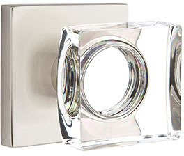 Emtek 5050-MSC Modern Square Crystal Knob Square Rose Full dummy set