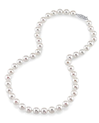 THE PEARL SOURCE 18K Gold 7.0-7.5mm AAA Quality Round Genuine White Japanese Akoya Saltwater Cultured Pearl Necklace in 18