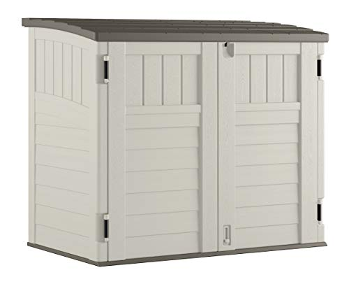 Storage Outdoor Rubbermaid Containers - Suncast Horizontal Storage Shed - Outdoor Storage Shed for Backyards and Patios - 34 Cubic Feet Capacity for Garbage Cans, Tools and Garden Accessories - Vanilla and Stoney