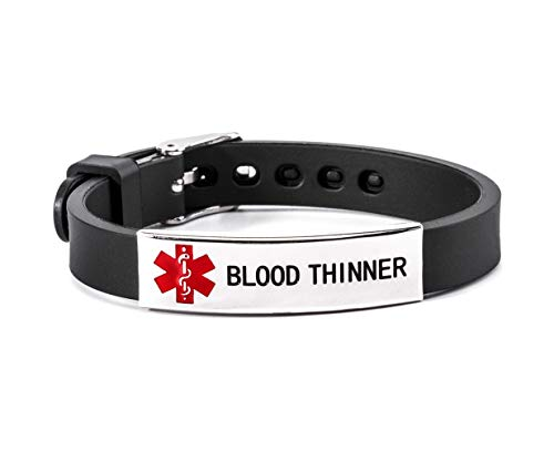 Discover Bargain Blood Thinner Medical Alert ID Bracelet Silicone Wristband Black Adjustable Size fo...