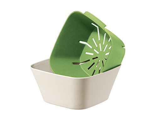 2 Pc Bamboo Fiber Square Bowl & Colander Set