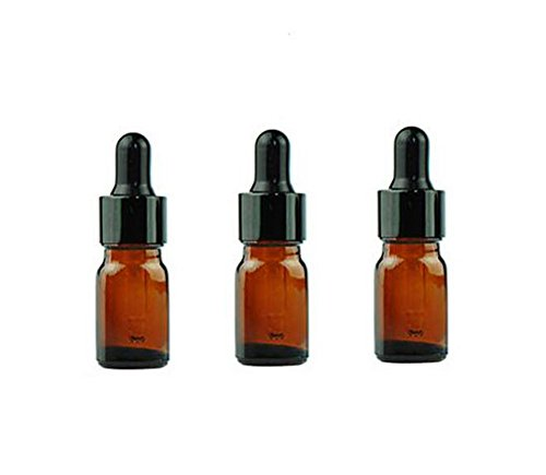 erioctry 5ML/10ML Amber Glass Essential Oil Bottles and Eyed Dropper Black Caps Makeup Cosmetic Sample Container Bottle for Essential Oil Aromatherapy Use(Pack of 12) (5ML)