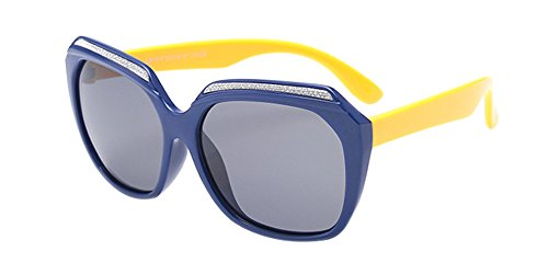 BOZEVON Unisexe Polarisées Lunettes de Soleil pour Enfants Garçons Filles Mode Monture en caoutchouc flexible Sport Lunettes Bleu profond/Jaune