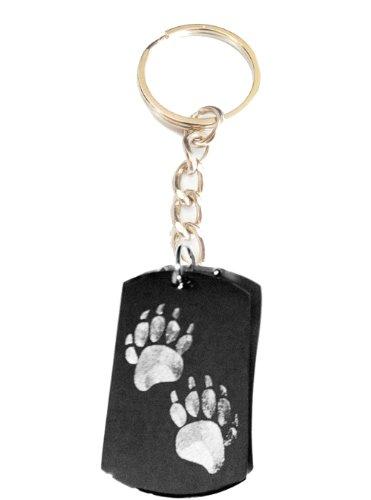Bear Paws Walking Logo Symbols - Metal Ring Key Chain Keychain