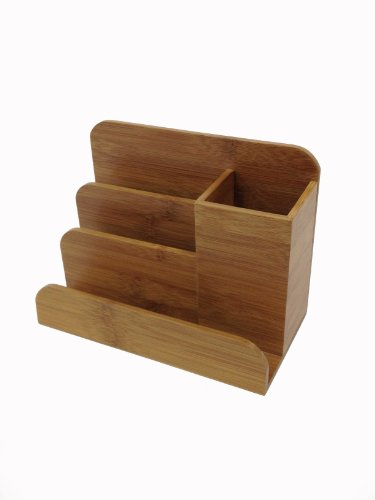 Buddy Products Pad Desk - Buddy Products 4-Compartment Bamboo Desk Organizer, 3.5 x 5 x 6.8 Inches (BB-024)