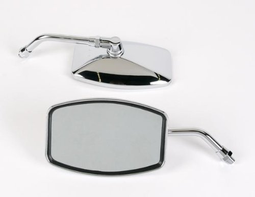 (Emgo Universal Cruiser Mirror - Big One, 4 1/4 H x 6 1/4 W, 10mm Thread, Honda, Kawasaki, Suzuki)