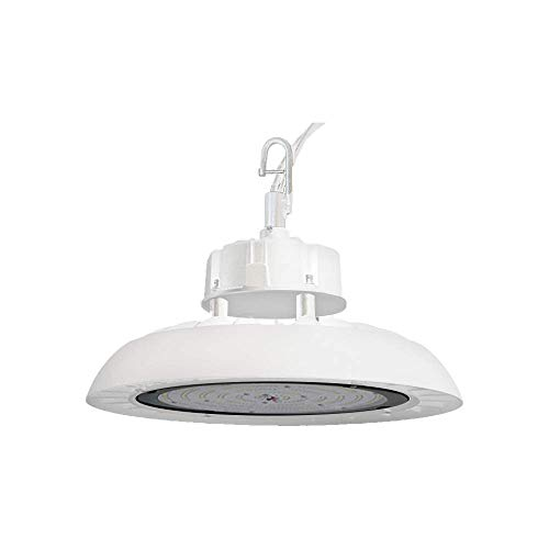 LamparⒶRCH 100W LED Round White High-Bay Light Fixture 250W Metal Halide Equivalent 0-10V Dimmable UL, DLC Industrial Heat Dissipating UFO Indoor Inside Highlight Warehouse Garage Shop Lamp (250w Metal Halide High Bay Light Fixture)