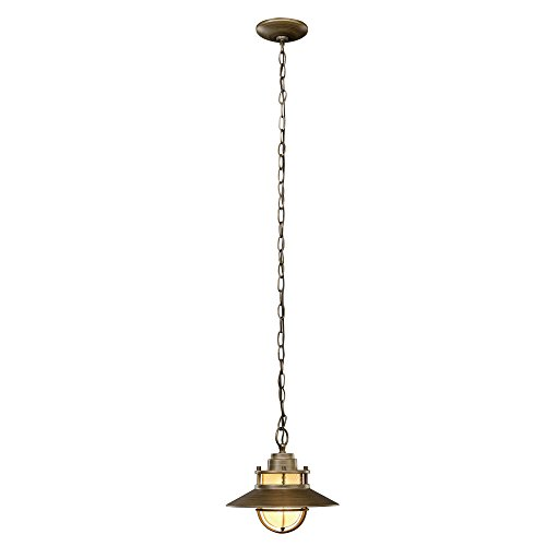 Globe Electric 44244 Liam 1-Light Outdoor Pendant, Bronze with White Frosted Glass Shade