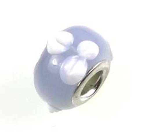 Lampwork Handmade Bead Big Hole Fit Bracelet Charm Lavender white Petal (Lampwork Charms White)