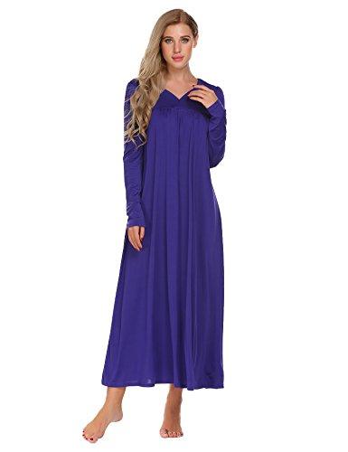 Ekouaer Long Sleeve Victorian Nightgown Sexy Sleepwear Maxi Dress For Women ,Purple,Small