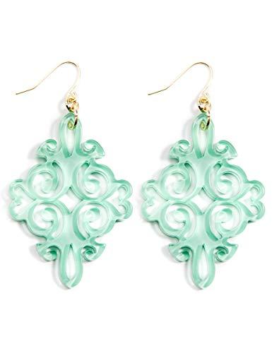ZENZII Acrylic Resin Twirling Drop Earrings for Women (Mint)